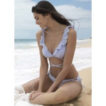 Ysabel Mora '19 kék-fehér csíkos fodros bikini
