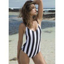 Ysabel Mora fekete-fehér csíkos egyrészes fürdőruha