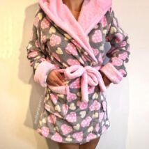 Pinki köntös - szívecskés - szürke-rózsaszín
