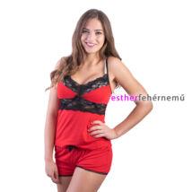 Pinki Eszter pántos pizsama - piros-fekete