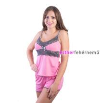 Pinki Eszter pántos pizsama - rózsaszín-szürke