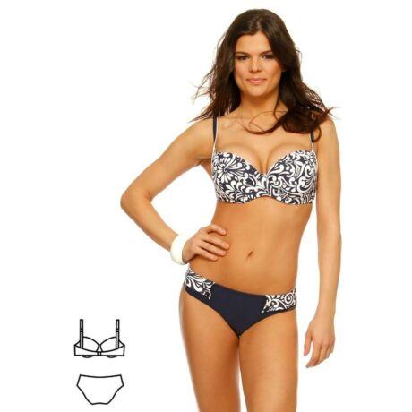 Bahama kék-fehér virágos bikini