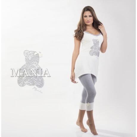 Mania pizsama Maci - ekrü-szürke
