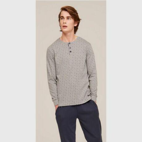 Noidinotte gombos férfi pizsama - szürke-kék