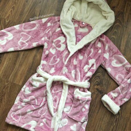Pinki köntös - szívecskés - mályva-ekrü