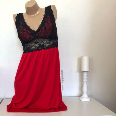 Pinki Elza hálóing - piros-fekete