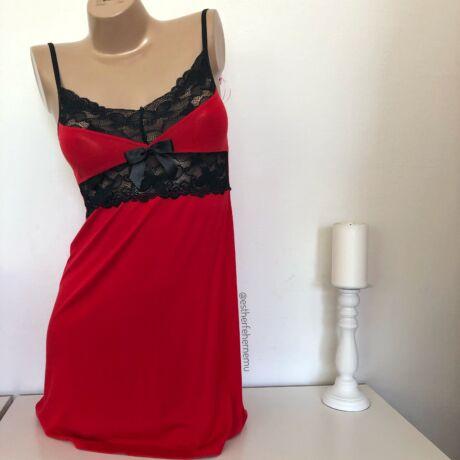Pinki Eszter pántos hálóing - piros-fekete