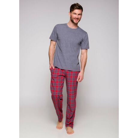 Taro Jeremi férfi pizsama - szürke-piros kockás